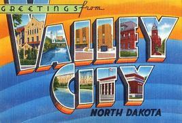 Greetingsfromvalleycity northdakota 1930 s vintagepostcardpostersmall thumb200