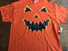 NEW Halloween Evil Scary Pumpkin Orange Black Shirt XXL NWT - $5.12
