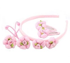Set of 5 Children Hair Bands Beautiful Hairpins and Hair Circle, Pink