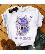 Cystic Fibrosis Awareness Wolf Fight Like A Warrior Ladies T-Shirt Cotto... - $19.75+