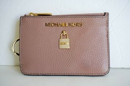 NWT MICHAEL KORS ADELE COINPOUCH WITH ID KEY RING CARD HOLDER LEATHER FAWN - $49.49
