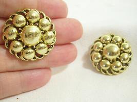 Coro Gold Plate Bubbles Button Shiny Clip Earring Elegant Classic Vintage - $14.80