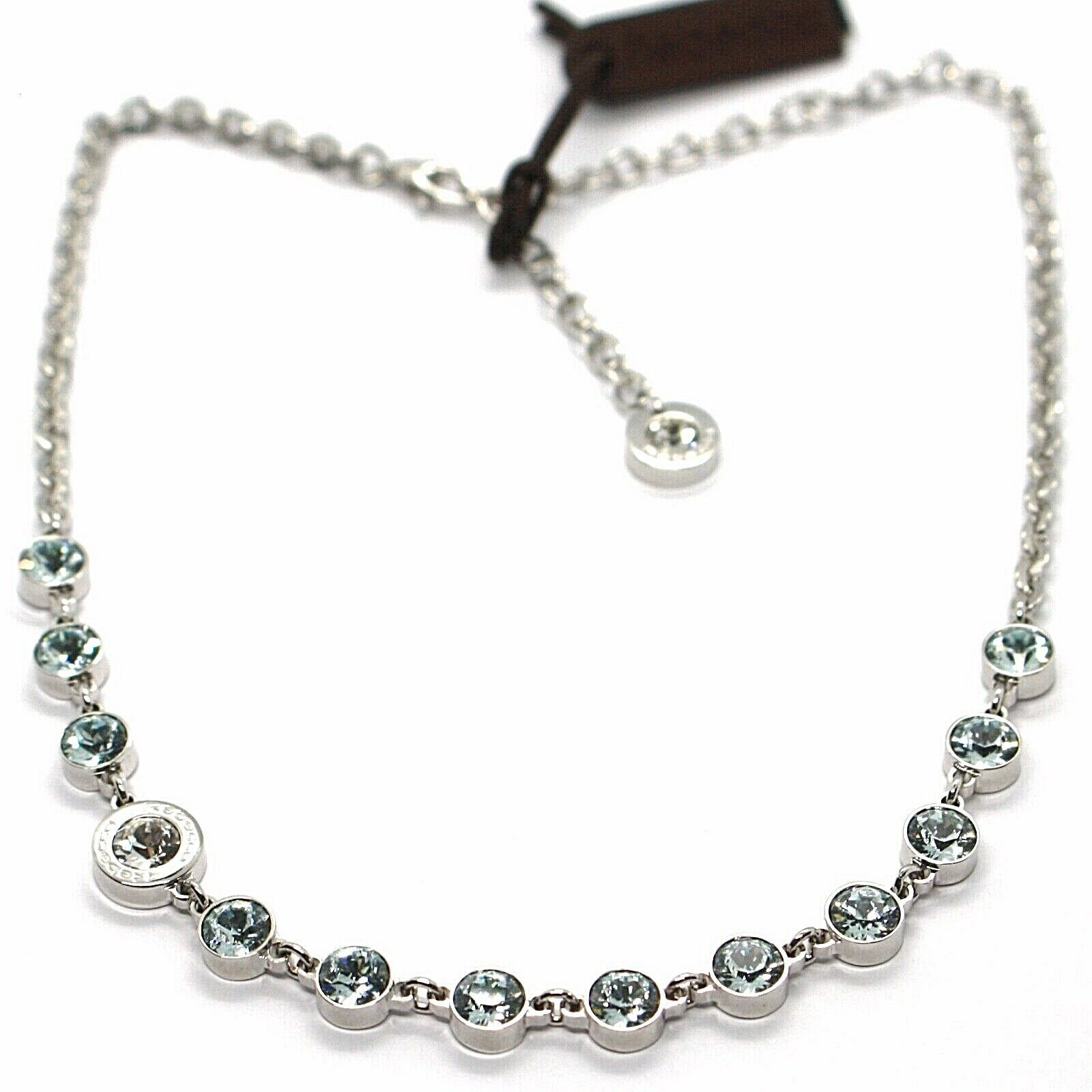 REBECCA BRONZE NECKLACE, TENNIS WITH LIGHT BLUE CRYSTALS, BPBKBL54 ITALY MADE