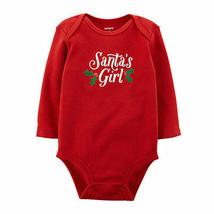 Carter's Girl's Size 3m Santa's Girl Red Long Sleeve Snap-bottom Top New - $5.99