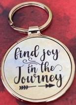 """Find Joy In the Journey 1.5"""" Round Silver Metal Keychain - $8.25"""