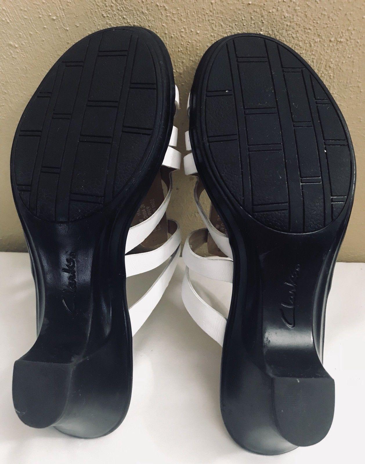 Details about Clarks Artisan Leather Block Heel Sandals Briatta Key Light Tan wide 10