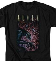 Alien Movie T-shirt Horror Action Sci Fi graphic black tee Retro 80s TCF277 image 3