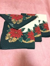 "(4) CHRISTMAS NAPKINS--16"" SQUARE--POINSETTIA------FREE SHIP--VGC - $12.87"