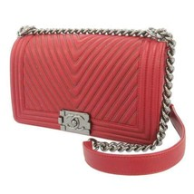 CHANEL Boy Chanel Chain Shoulder Bag V Stitch Leather Bordeaux CC Logo A... - $3,941.80