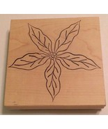 "Poinsettia Wood Mounted Rubber Stamp Magenta 5.5X5.5"" Vintage Christmas ... - $10.85"