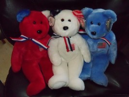 Ty 2002 Beanie Buddy AMERICA the Bear Red/White/Blue Version 14 inch W/Tags NEW - $60.80