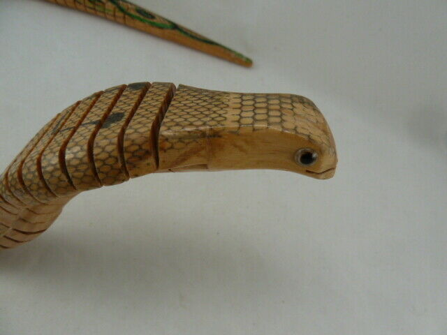 """Vintage Articulated Wooden COBRA TOY SNAKE 24"""" LONG HAND MADE RARE! image 2"""