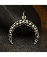 Granulated Medium Crescent-Moon Charm Sterling Silver 21x18mm, 1Pc (1320... - $14.07