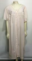 Vanity Fair Womens 2X Light Pink Silky Housecoat Robe Short-Sleeve Mid-Calf - $37.73