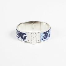 "Hermes Palladium Plated Enamel ""Hinged Bangle"" Bracelet - $460.00"