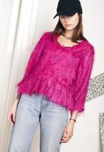 80s vintage fluffy pink top - $34.46