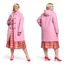 Isaac Mizrahi x Target Hooded Duffel Coat Wool Blend Toggel Pink Plus 3X - $124.19