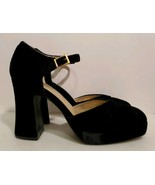 Chinese Laundry Black Microsuede Sandals with Closed Toe & Block Heel, S... - $14.03