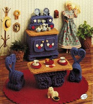 Annie's Attic Fashion Doll Furniture Buffet Table Chair Rug Crochet Patt... - $12.99