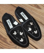 Disney Size 6 Women's Black Silver Embroidered Slip On Shoes Flats Micke... - $23.74