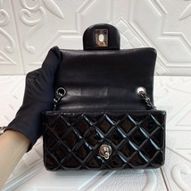 AUTH Chanel BLACK Quilted PATENT LEATHER Mini Classic Flap Bag SHW image 9