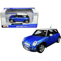Mini Cooper Metallic Blue with White Top 1/24 Diecast Model Car by Maisto 312... - $33.92