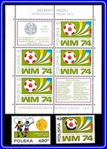 POLAND 1974  FOOTBALL CUP + M/S MNH SOCCER, SPORTS - $2.51