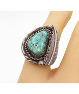 NAVAJO 925 Silver - Vintage Turquoise Leaf Twist Cocktail Ring Sz 6 - R1... - $43.44