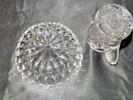 Etched glass candy dish and miniature pitcher AA19-LD11941 Vintage 2 pieces image 4