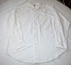 Jerzees adult mens long sleeve button front shirt M md medium white J50S... - $25.39 CAD