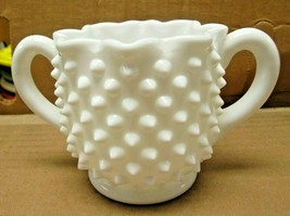 Star Shaped Double Handle Open Sugar Bowl Hobnail Milk Glass by FENTON - $13.91
