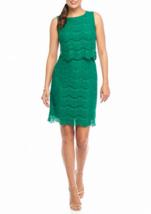 NWT ANNE KLEIN GREEN LACE COTTON SHEATH DRESS SIZE 14 $129 - $33.24