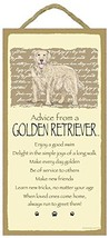 Advice From a Golden Retriever Dog 10 X 5 Wood Sign Plaque - $12.86