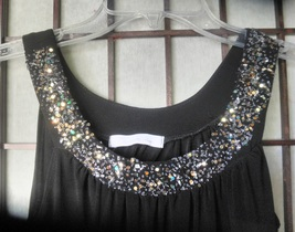 womens top Charlette Russe size small/medium black with bling - $22.23