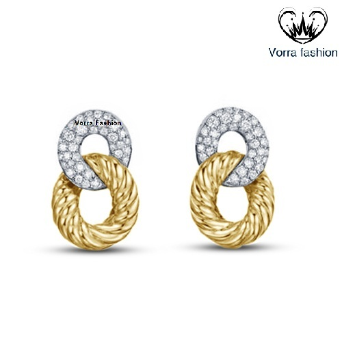 Primary image for Intertwined Twisted Stud Earrings Round Cut Diamond 14k Gold Plated 925 Silver