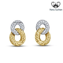 Intertwined Twisted Stud Earrings Round Cut Diamond 14k Gold Plated 925 ... - $49.88