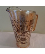 Mid Century Vintage Pitcher Iridescent Amber Wheat Glass Water Tea Cockt... - $23.89