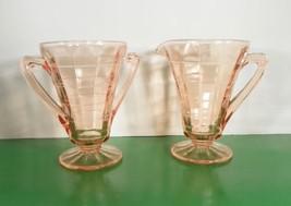 Anchor Hocking BLOCK OPTIC Pink Depression Glass Creamer and Open Sugar Bowl - $21.73