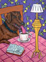 animal Art oil painting printed on canvas home decor Labrador coffee  - $14.99+