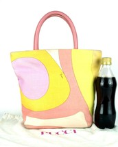 EMILIO PUCCI Multicolor Cotton Canvas & Pink Leather Tote Hand Bag Purse... - $147.51