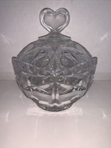 "Vintage Clear Crystal Candy Dish with X's and O's And Heart On Lid 6 1/4"" - $25.00"