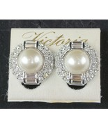 Vintage Faux Pearl Bagget & Round Crystal  Victoria Clip on Earrings - $16.74