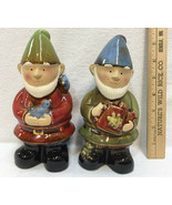 """Happy Garden Gnomes Figurine Statue Ceramic Decor 7"""" Lawn Ornament Out &... - $14.24"""