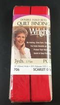 Wrights Scarlet 076 Double Fold Bias Quilt Binding 3 Yds Nip - $3.76