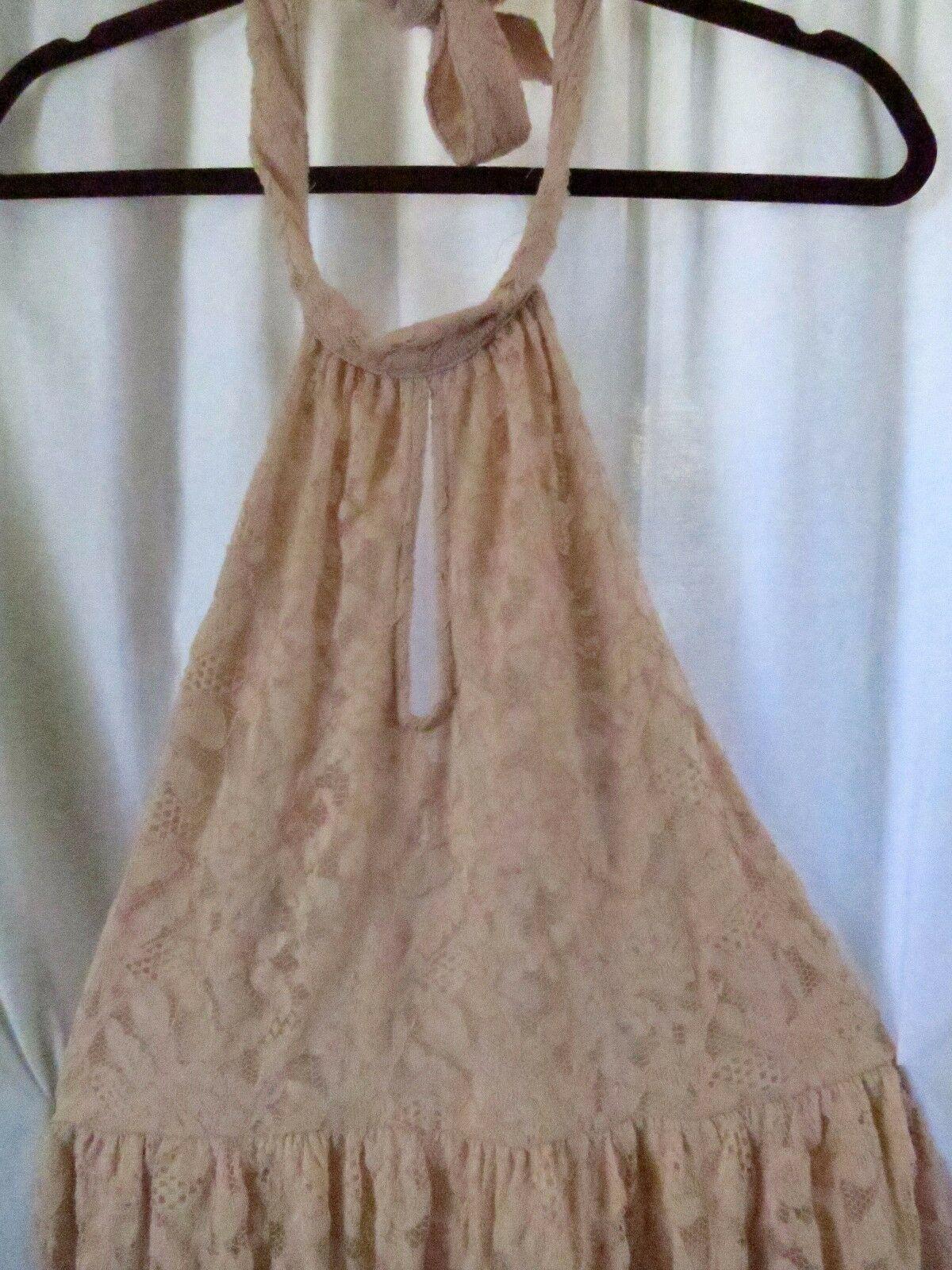 Forever 21 Pink Lace Halter Dress L
