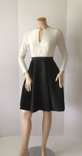 NEW HALSTON HERITAGE Fit&Flare Eggshell&Black Color Block Dress (Size 0)-$495.00