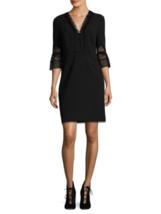 T Tahari Eyelet-Lace A-Line Dress, Black, Size 0, originally $198 #A1030 - $78.00