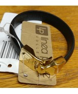 LINEA PELLE Black Leather Bracelet M/L Belt style Gold Tone Closure - $24.09