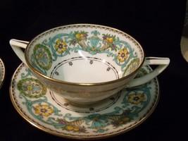 Rare Pair Of Antique Hand Painted Minton Fine Bone China Bullion Cups & Saucers - $44.55