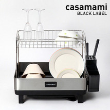 Casamami Black Label 2 Layer Kitchen Dish Drying Rack with Drainer Made in Korea image 2